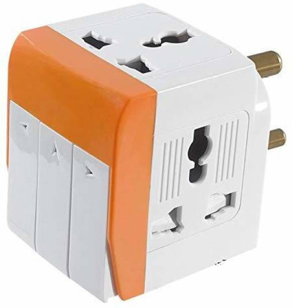 jamunesh 3 Sockets Socket 3 Switches(5A-250V) with Individual Switch and Indicator Extension Spike Buster Fuse Protected Three Pin Plug