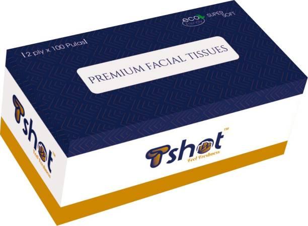 Tshot Soft Primium Face Tissue Paper Box 2 Ply 100 Pulls (Pack Of 1)