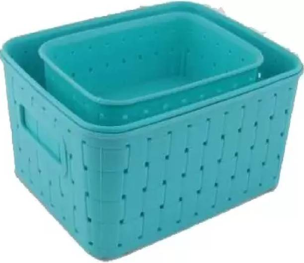 Hap creation Baskets for Storage Set of 3 Pieces,Sky Blue Storage Basket (Pack of 3) Plastic Fruit & Vegetable Basket