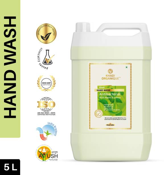 khadi ORGANIQUE Hand Wash Advanced Lemon & Organic Neem Anti Bacterial Hand Wash For Best Ever Protection |Cleanses|Moisturises Dermatologically Tested Hand Wash Can