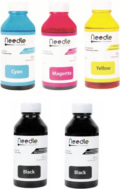 Needle 5 x 100 ml Cartridge Inkjet printer compatible refill ink for Cartridge Printer Black - Twin Pack Ink Bottle