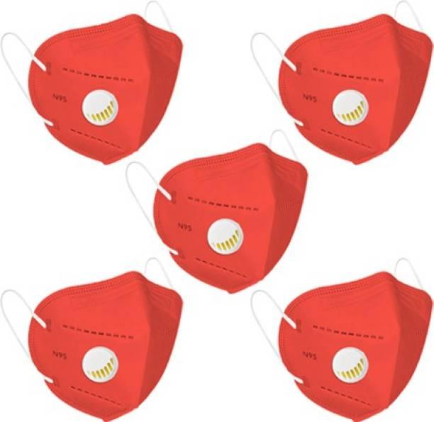 Flipkart SmartBuy N95 Mask Red (Pack of 5) sb_N95_Respi_Red_5pc Reusable