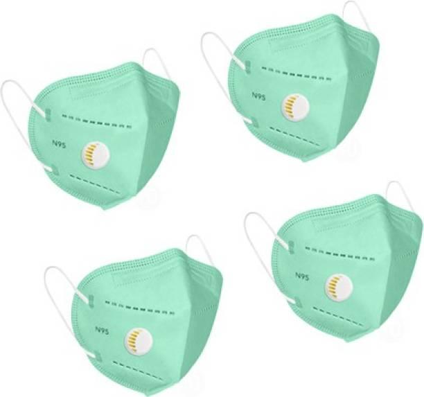 Flipkart SmartBuy N95 Mask Green (Pack of 4) sb_N95_Respi_Green_4Pc Reusable
