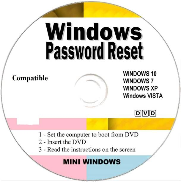 Compatible Windows Password Reset Disk Recovery Premium DVD/USB Drive for Removing Your Forgotten Windows Password on Windows 10, Windows 7, Vista, XP - Unlimited Use! for Desktop and Laptop (DVD-DISC)