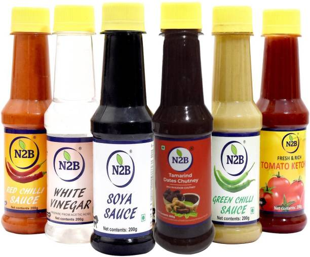 N2B Combo of 6 with Imli (Imli Dates Sauce + Red Chilli Sauce + White Vinegar + Soya Sauce + Green Chilli Sauce + Tomato Ketchup) 200g each Sauce