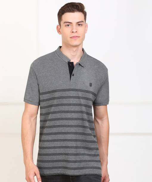 Billion Striped Men Polo Neck Grey T-Shirt