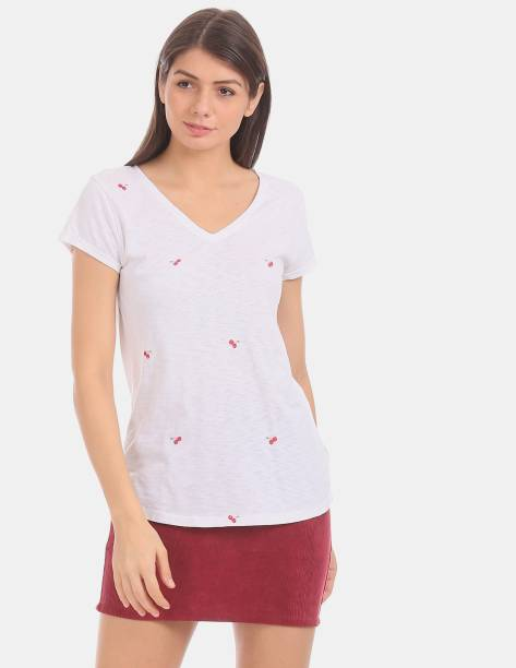 GAP Embroidered Women V Neck White T-Shirt