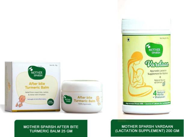 Mother Sparsh Baby Combo - Ayur Baby Turmeric Balm ,25g and vardaan lactation supplement-200g