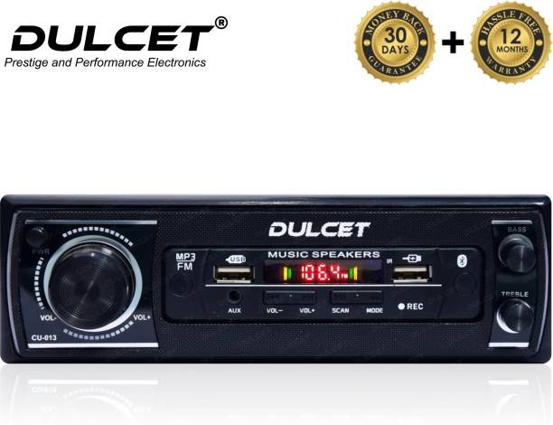 DULCET DC-2020X Double IC High Power Universal Fit Mp3 Car Stereo with Dual USB/Bluetooth/FM/AU/Remote & Built-in Equalizer with Bass & Treble Control [Also, Includes a Free 3.5mm Premium Aux Cable] DC-2020X Car Stereo