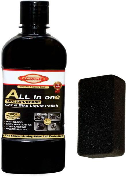 Decent Liquid Car Polish for Leather, Dashboard, Metal Parts, Tyres, Headlight, Exterior