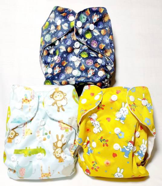Diversity Printed Reusable Diaper Dark Blue , Yellow and Sky Blue Set of 3 - S - M