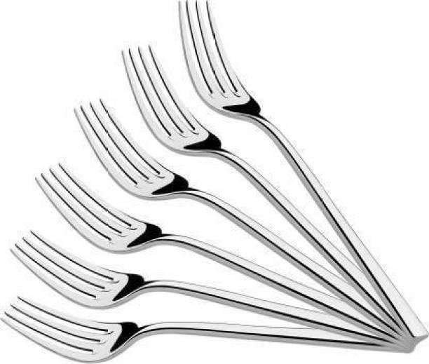 KR Five Products KR5 Products Stainless Steel Fork Spoon (Steel Fork) Pack Of 6 Stainless Steel Fork (Dinner Fork/Dessert Fork/Salad Fork) Set Of 6 Fork Steel Dinner Fork Set