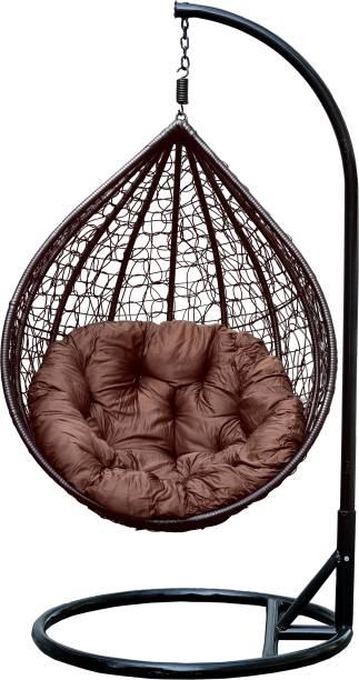 Swingzy Rattan Wicker Hanging Swing Chair Iron Hammock