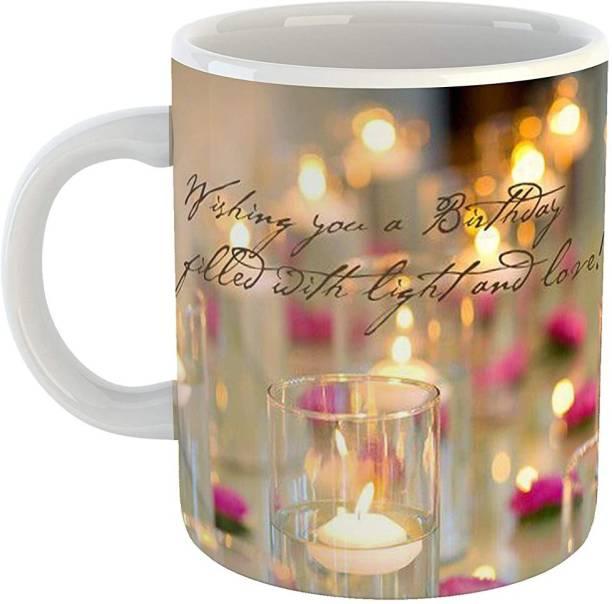RS CASE Happy Birthday Joy and Light Ceramic Coffee for Friend, Girlfriend & BoyFriend Glossy Finish With Vibrant Print Ceramic(330 ml) Ceramic Coffee Mug