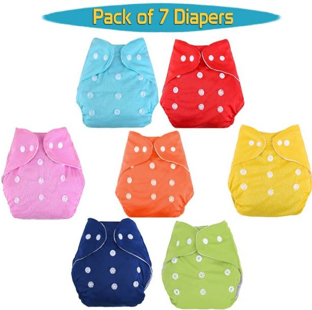GRAYSEE Trendy/Fashionable New Born Washable adjustable/Reusable Microfiber Cotton Diapers, 0-12 Months (Multicolour) -Pack of 7
