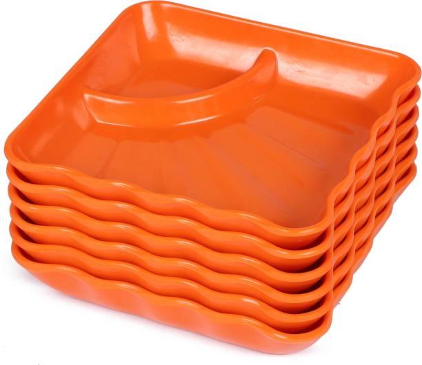 Golden Fish Orange Melamine Square Snacks/Starters Serving Quarter Plates (Set of 6; 8 Inch) Quarter Plate