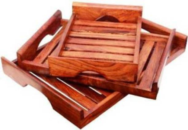 RG SHOPPEE Sheesham Wood Serving Tray Set of 3 Tray Serving Set