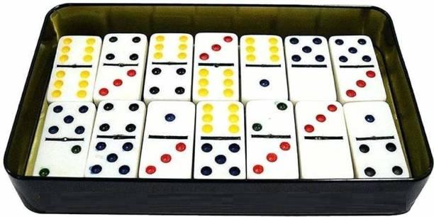 unique star 28 Pcs Double Six Color Dot Domino/White Domino Set Toy/Blocks for play (Multi color) (Multicolor)