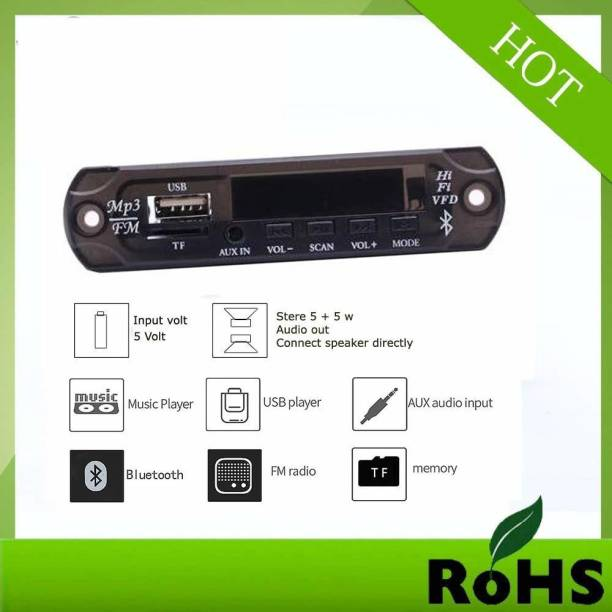Salcon Electronics Vire VTF 108BT Bluetooth FM USB AUX Card MP3 Stereo Player Decoder Module Kit with Remote for Audio Amplifier Multi Class A Car Amplifier