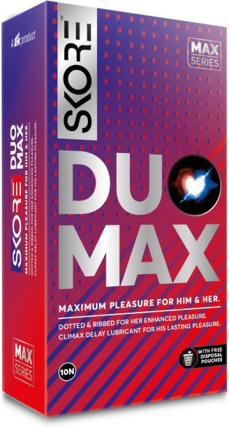 SKORE Duo Max Dotted and Ribbed Climax Delay Condoms with Disposal Pouches Condom