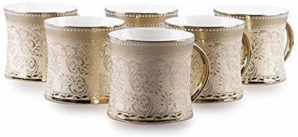 TAGROCK Pack of 6 Bone China Golden Heritage Print Tea Coffee Cups Mug Set 150 ML