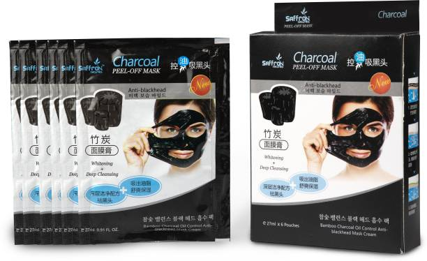 Saffron Naturals Charcoal Peel off Mask Removes Black Heads, Tightens Pores and Deeply Cleanses Skin (27ml x 6 Pouch)