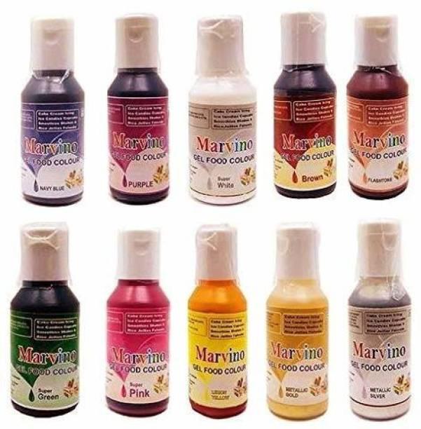 Marvino 10 shades of food edible gel colors Multicolor