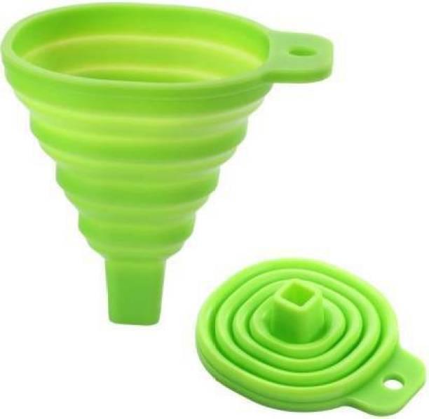 Laznia Silicone Funnel For Kitchen Retractable Silicone Oil Liquid Funnel Transfer Hopper Green Silicone Funnel