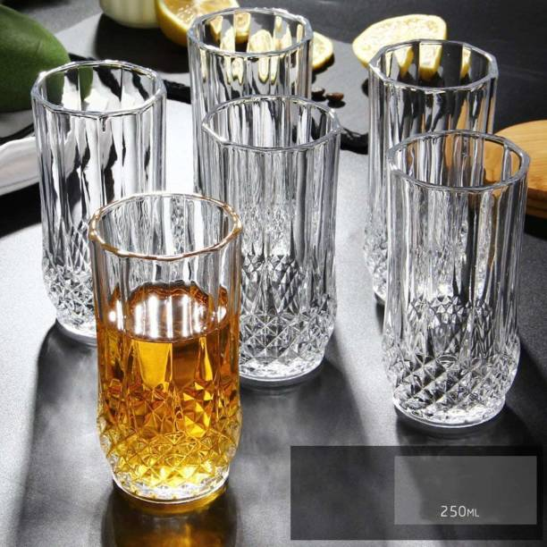 KVA (Pack of 6) Drinking Glasses Set of 6- 12.5 CM Highball Glasses Crystal Glass Tumblers for Water, Juice, Beer, Wine, Cocktails, Whiskey Glass Set
