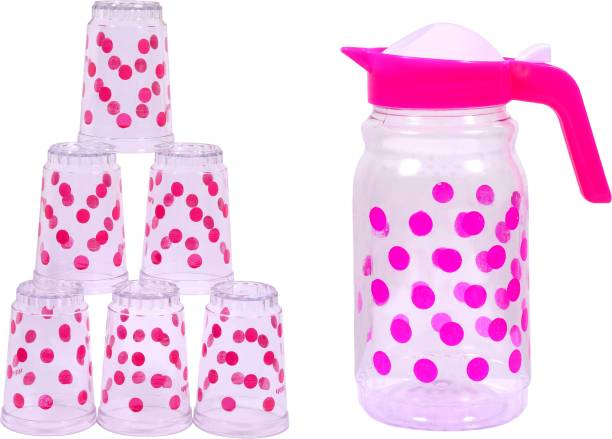 Aone Small Squar Pink Containers( Set-1 ) Jug Glass Set