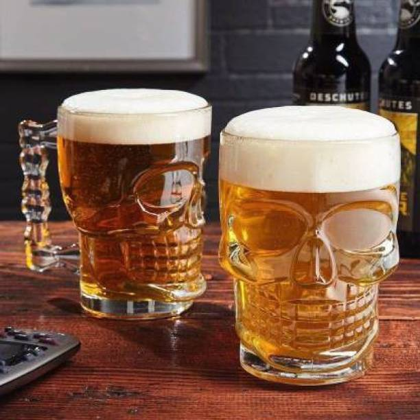 SURYAFASHION (Pack of 2) (Pack of 2) Skull Beer Mug 530ML for Your Home Bar|Large Glass Beer Mug for Party|crystal glass Glass Set (530 ml, Glass) Glass Set