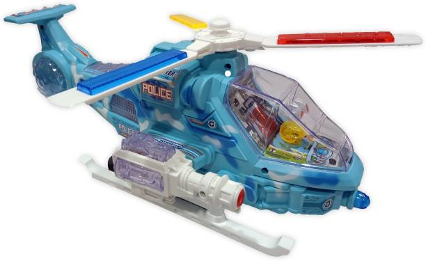 Toy Shack Musical Bump and Go Helicopter with Flashing Lights Toy for Boys and Girls