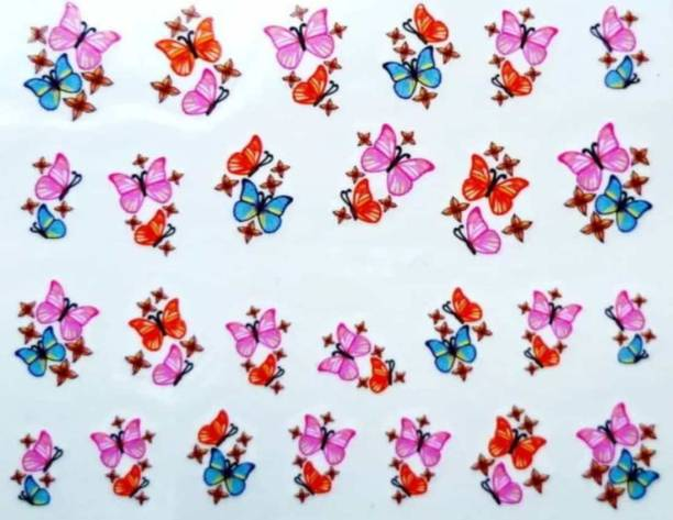 SENECIO® Bunch of Butterflies Pink Blue Multicolor Nail Art Manicure Decals Slide Water Transfer Stickers 1 Sheet Size :6.2*5.2cm