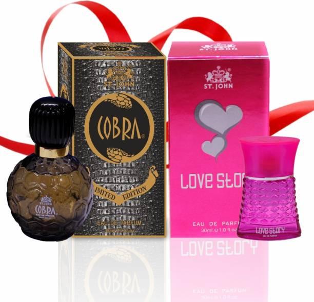 ST-JOHN Couple Perfume Gift Set Cobra 60ml & LOVE STORY (PACK 2) Eau de Parfum  -  90 ml
