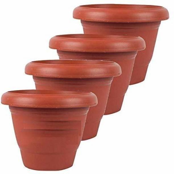 spyLove Plastic Gamla (Brown) Set of 4 Pcs (10 inch) Plant Container Set