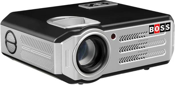 BOSS S11 3D 5700 Lumens 50,000 Hours LED Projector, Compatible with HDMI/VGA/AV/USB/TV/Laptop/DVD (5700 lm / 2 Speaker / Remote Controller) Portable Projector