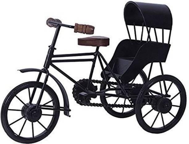 BHAGWATI HANDICRAFTS handicrafts Iron & Wooden Home Decorative Cycle Rickshaw - Black Decorative Showpiece  -  21 cm