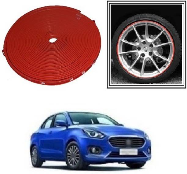 ACCESSOREEZ Alloy Wheel Edge Rim Protectors RTRX119 Tyres Guard Rubber Moulding-RED Wheel Cover For Universal Car (14.5 cm) Wheel Cover For Universal For Car Universal For Car