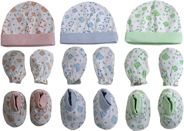Baby Shopiieee Supersoft cotton Booty, Mitten and Cap combo for new born baby boy and baby girl (Multicolor)-09