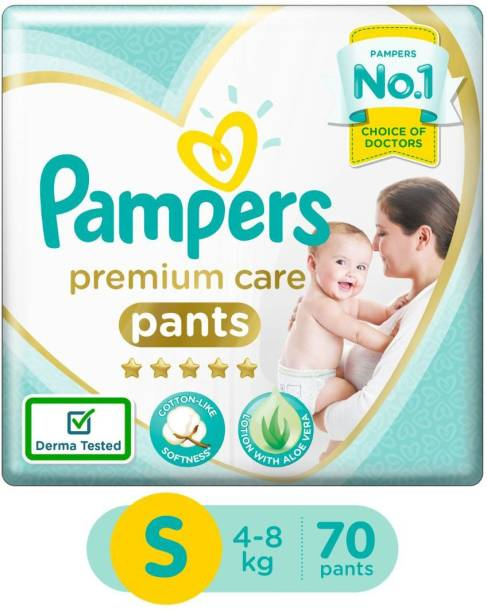 Pampers Premium Pants Cotton like soft Diapers with Wetness Indicator - S