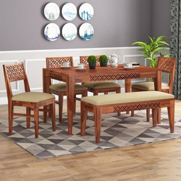 Mooncraft Furniture Wooden Dining Table with 4 Chairs & 1 Bench Solid Wood 6 Seater Dining Set