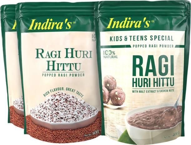 Indira Ragi Huri Hittu 400g (2 Nos) & Ragi Special Huri Hittu 400g (1 No) Combo