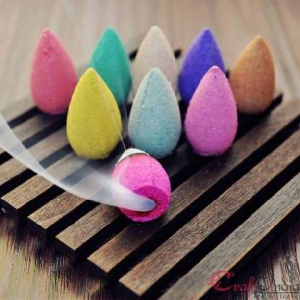 GLENDID Backflow Smoke Fountain Coloured Incense Cone Pack of 120 Dhoop (Pack of 50)