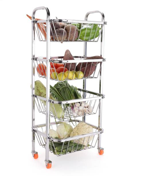 LIMETRO STEEL 4 Step Fruit and Vegetable Rack Stainless Steel Kitchen Trolley
