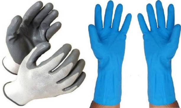 Seebuy SAFETY GLOVES NYLON CUT RESTITANCE INDRUSTRAIL PURPOSE USES RUBBER BLUE COLOUR GLOVES Rubber  Safety Gloves