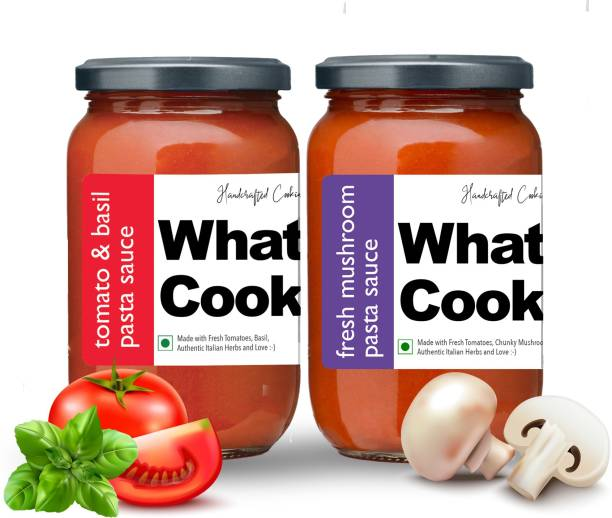 What's Cooking Super Saver Combo Tomato Basil Pasta Sauce & Fresh Mushroom Italian Pasta Sauce (Homemade, Gourmet, Ready to Cook) 300ml Each (Pack of 2) Sauce