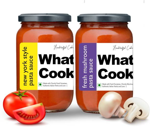 What's Cooking Super Saver Combo Fresh Mushroom Pasta Sauce & New York Style Pasta Sauce (Homemade, Gourmet, Ready to Cook) 300ml Each (Pack of 2) Sauce
