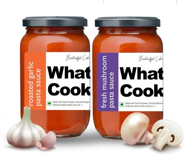 What's Cooking Super Saver Combo Fresh Mushroom Pasta Sauce & Roasted Garlic Pasta Sauce (Homemade, Gourmet, Ready to Cook) 300ml Each (Pack of 2) Sauce