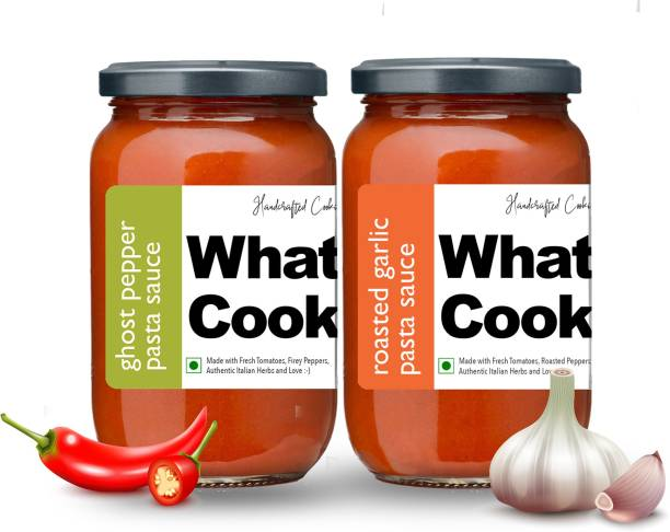 What's Cooking Super Saver Combo Ghost Pepper Pasta Sauce & Roasted Garlic Pasta Sauce (Homemade, Gourmet, Ready to Cook) 300ml Each (Pack of 2) Sauce