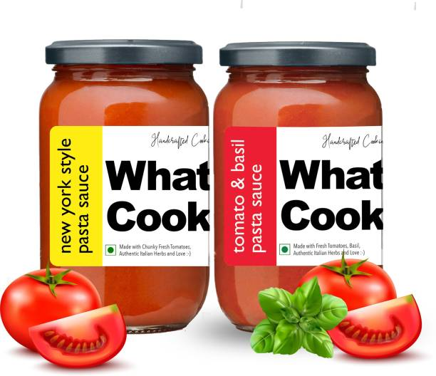 What's Cooking Super Saver Combo Tomato Basil Pasta Sauce & New York Style Pasta Sauce (Homemade, Gourmet, Ready to Cook) 300ml Each (Pack of 2) Sauce